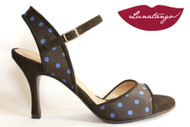 MONA Blue Dots Satin & Black Suede Tango Shoe in Size 36, from LUNATANGO