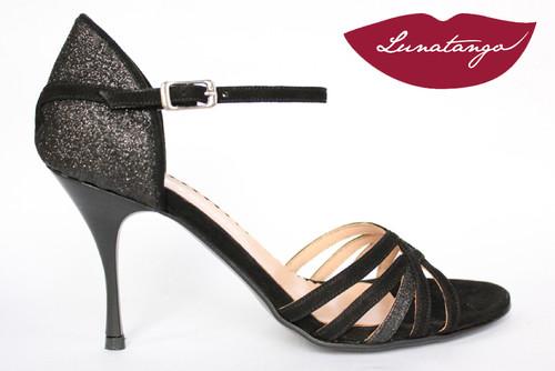 SALSERA Black Glitter & Black Suede Tango Shoe in Size 38, from LUNATANGO