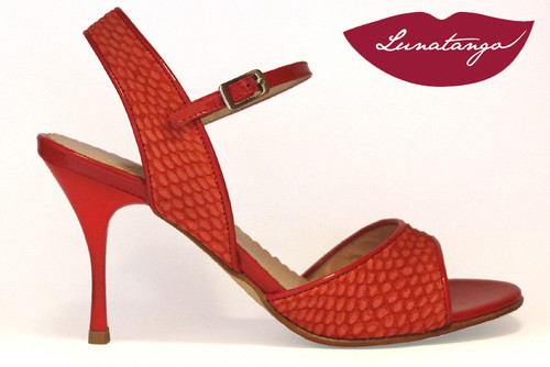 MONA Engraved Coral Suede & Red Patent Tango Shoe in Size 38, from LUNATANGO