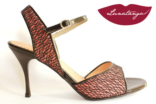 MONA Pink Lace & Black Patent Tango Shoe in Size 38, from LUNATANGO