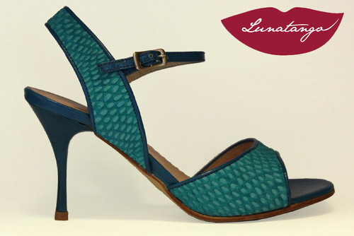 MONA Engraved Turquoise Suede & Turquoise Patent Tango Shoe in Size 38, from LUNATANGO