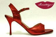 MONA Metallic Red Leather Tango Shoe in Size 37, from LUNATANGO