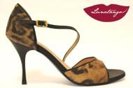DIAGONAL Cheeta Leather & Black Leather Tango Shoe in Size 38, from LUNATANGO
