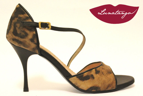 DIAGONAL Cheeta Leather & Black Leather Tango Shoe in Size 38, from LUNATANGO