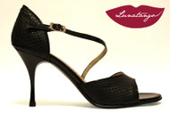 DIAGONAL Engraved Black Leather & Black Patent Tango Shoe in Size 37, from LUNATANGO
