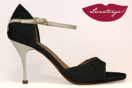 """X"" Denim & White Patent Tango Shoe in Size 38, from LUNATANGO"