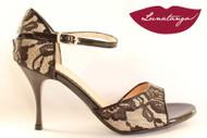 """X"" Black-White Lace & Black Patent Tango Shoe in Size 38, from LUNATANGO"