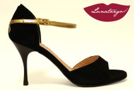 """X"" Black Suede & Gold Leather Tango Shoe in Size 37, from LUNATANGO"