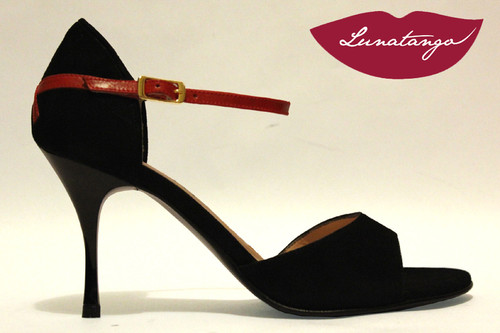 """X"" Black Suede & Red Leather Tango Shoe in Size 38, from LUNATANGO"