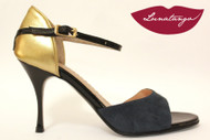 """X"" Gold Leather, Black Patent & Petrol Suede Tango Shoe in Size 38, from LUNATANGO"