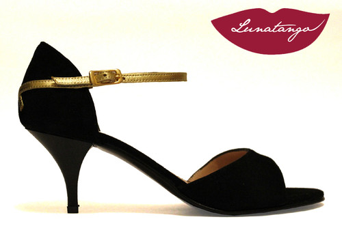 """X"" Black Suede & Gold Leather, Low Heeled Tango Shoe in Size 37, from LUNATANGO"