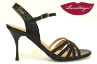 BRASILERA Black Transfer Leather Tango Shoe in Size 38, from LUNATANGO