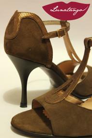 GOTA Chocolate Suede & Bronze Snake Tango Shoe in size 36, from LUNATANGO
