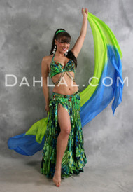 SPRING BLOSSOM in Lime Green, Blue, Black and Amber by Designer Turkish Embers, Turkish Belly Dance Costume