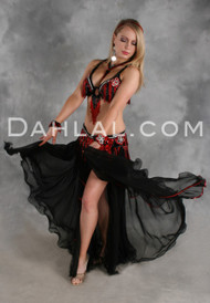 FLAMENCO FLAIR in Black, Red and Silver by Designer Oriental Originals,  Turkish Belly Dance Costume