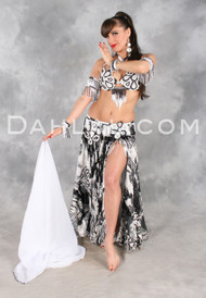 SAVOIR-FAIRE in Black, White and Silver by Designer Oriental Originals, Turkish Belly Dance Costume