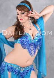 HARMONIOUS GREAT LOOP Bra and Belt Set by Pharaonics of Egypt, Egyptian Belly Dance Costume, Available for Custom Order