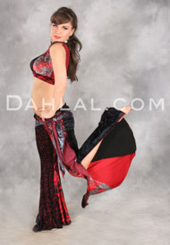 NASREEN Pant in Smoky Crimson Combination from Off The Nile