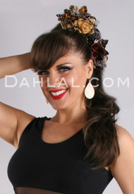 DOUBLE-FLOWER ANIMAL PRINT HAIR CLIP, Belly Dance Fashion Accessory