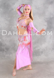 CAPTIVATION III in Orchid, Orange and Silver by Oriental Originals, Turkish Belly Dance Costume