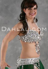 FORTUNE & FAME II Bra and Belt Set by Designer Rising Stars, Egyptian Belly Dance Costume for Custom Order