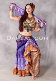 Dusty Orange, Lavender And Gold Sari Ruched Tribal Skirt