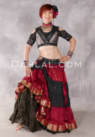 TIERED RUCHED SKIRT of Vintage Sari Fabric - 8 Colors Available