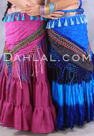 TRIBAL PRINT SCARF with Fringe and Tassels, for Belly Dance