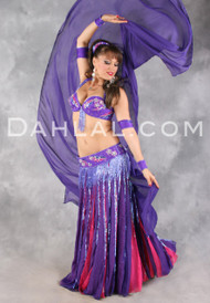 CHIFFON DREAMS in Purple and Fuchsia by Pharaonics of Egypt, Egyptian Belly Dance Costume
