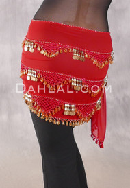 Multi-Row Egyptian Beaded Coin Hip Scarf #A - Red and Gold