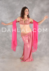SWEET SENTIMENTS II in Pink with Gold by Designer Eman Zaki, Egyptian Belly Dance Costume