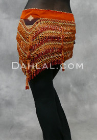Ethnic Printed Belly Dance Scarf with Orange, Gold and Red Beads