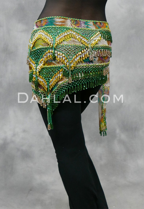 Beaded Green and Gold Belly Dance Hip Scarf