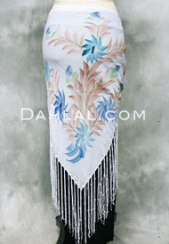 FRINGED TRIANGLE SCARF in Floral Prints