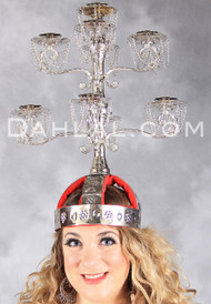 DANGLING CHAIN CANDELABRA, Belly Dance Shamadan Adjustable Head Piece