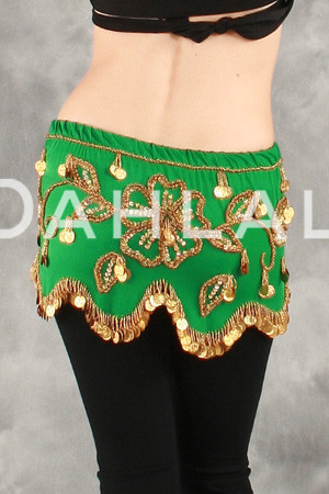 Green and Gold Floral Wave Hip Scarf for Belly Dance