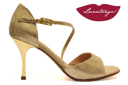 DIAGONAL Gold Fantasy Leather with Gold Metallic Heel Tango Shoe