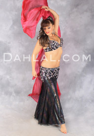 AFTER DARK in Black Iris, Silver and Multicolor by Rising Stars, Egyptian Belly Dance Costume