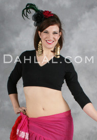 Black Cotton Lycra 3/4 Sleeve Choli for Tribal Belly Dancing