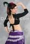 Black Cotton Lycra 3/4 Sleeve Choli for Belly Dancing