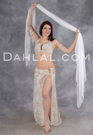 FLORAL GRACE in Cream and Gold by Designer Eman Zaki, Egyptian Belly Dance Costume