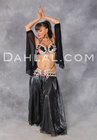 BEJEWELED in Black, Gunmetal, Silver and Multicolor by Designer Rising Stars, Egyptian Belly Dance Costume