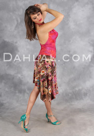Asymmetrical Tango Skirt with Side Slit, by Dahlal USA