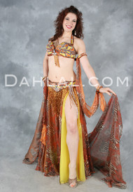 BOTANIC BUTTERFLY FANTASY in Copper, Orange and Yellow by Designer Pharaonics of Egypt, Egyptian Belly Dance Costume