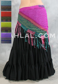 TRIBAL PRINT SCARF with Fringe, for Belly Dance