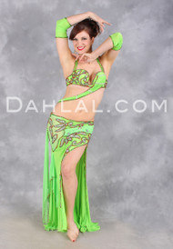 ELEGANCE ENSUED in Lime, Red and Bronze by Designer Rising Stars, Egyptian Belly Dance Costume