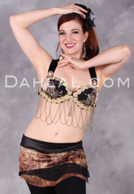 TRIBAL LACE BRA in Black and Gold in Bra Size #4 for Belly Dancing