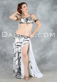 ECSTASY in Black, White and Silver by Designer Eman Zaki, Egyptian Belly Dance Costume