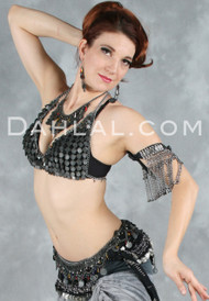 GYPSY TREASURE Bra Cover, Belt, Necklace and Earring Set in Dark Pewter, for Belly Dance