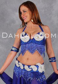 VINTAGE CLASSIC II in Royal Blue, White and Silver, by Designer Rising Stars, Egyptian Belly Dance Costume
